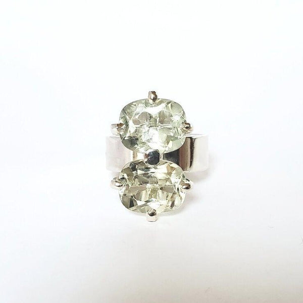 Double oval prasiolite ring