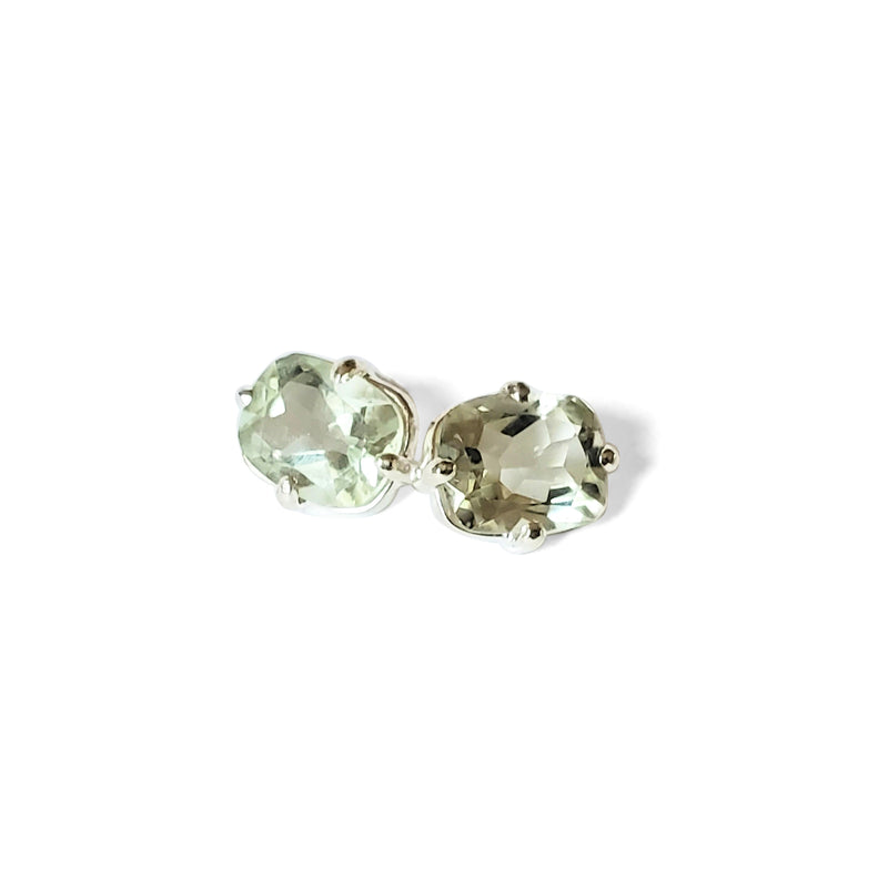 Oval cut, prasiolite stud earrings
