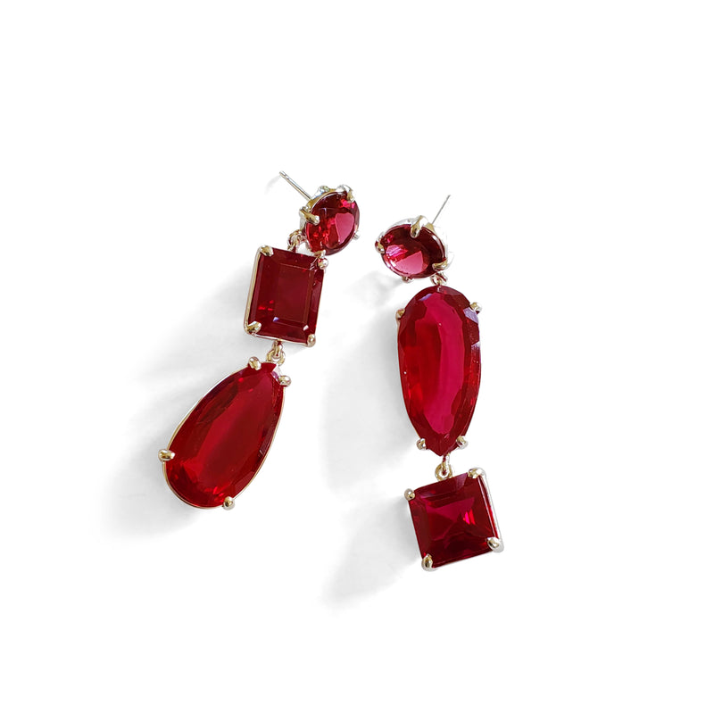 Triple drop ruby quartz earrings on post