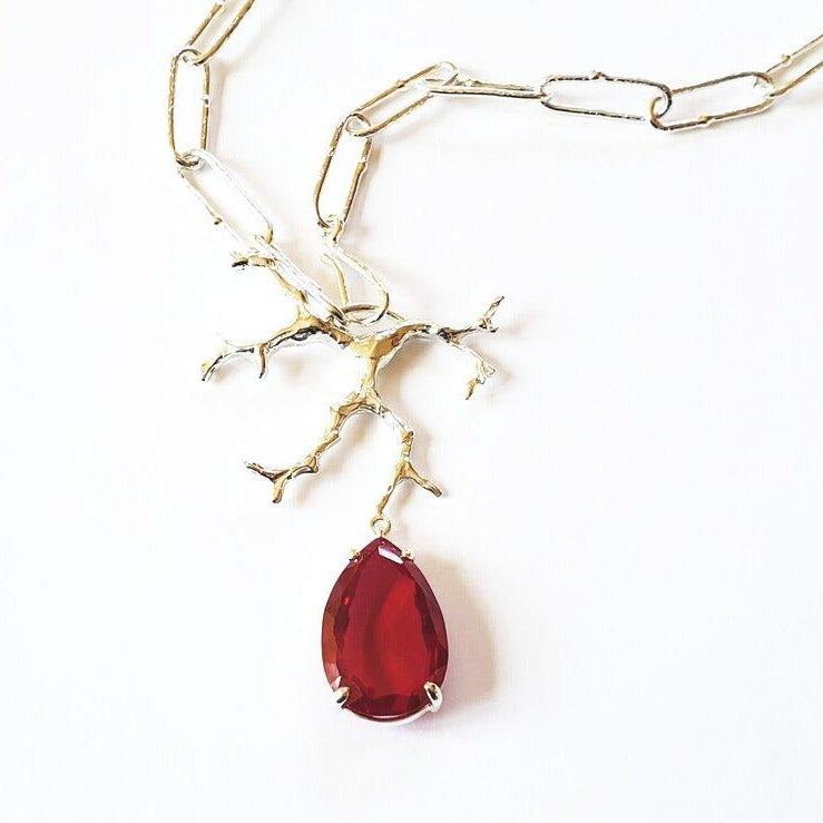 Sterling silver chain, sterling coral, ruby quartz pendant