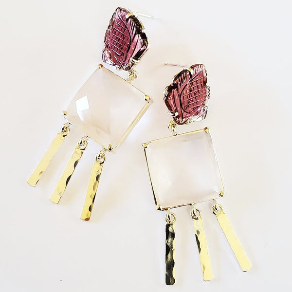 Carved tourmaline leaf post, rose quartz, hammered silver drop earrings