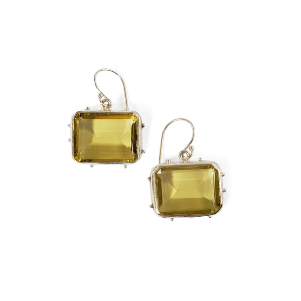 Emerald cut, lemon quartz earrings with granulated accents