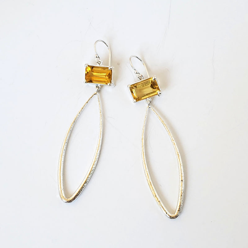 Emerald cut, citrine silver textured teardrop earrings