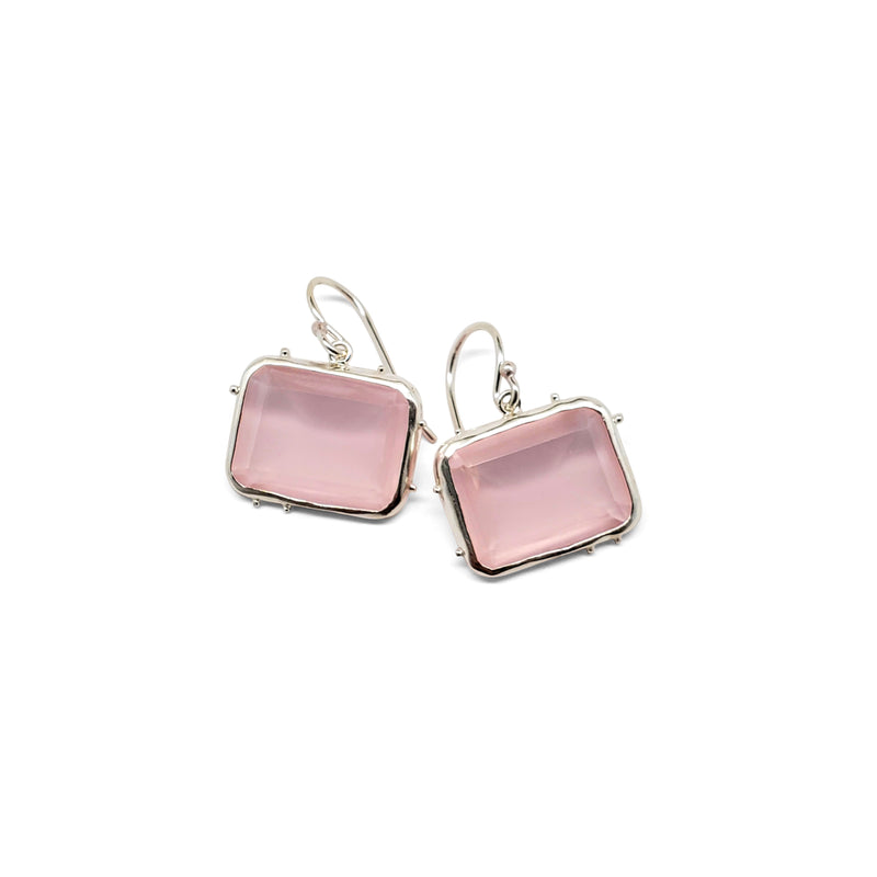 Rose quartz, granulated bezel earrings