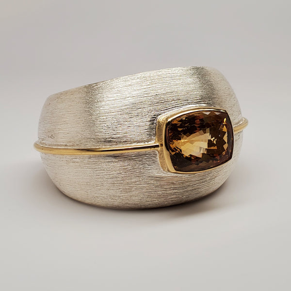 Brushed finish Argentium silver, citrine cuff w 18k vermeil accent