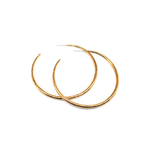 Small, textured vermeil hoop