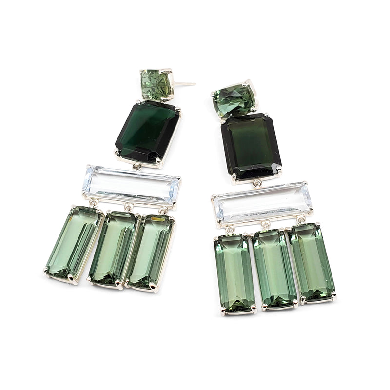 Emerald quartz, green quartz, blue quartz 4 tier earrings