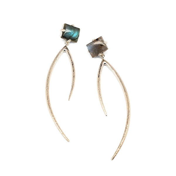 Labradorite curve earrings