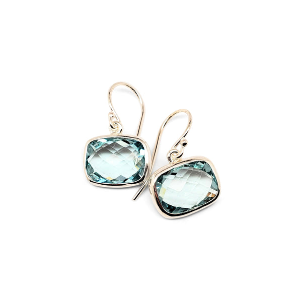 Blue topaz bezel set earrings