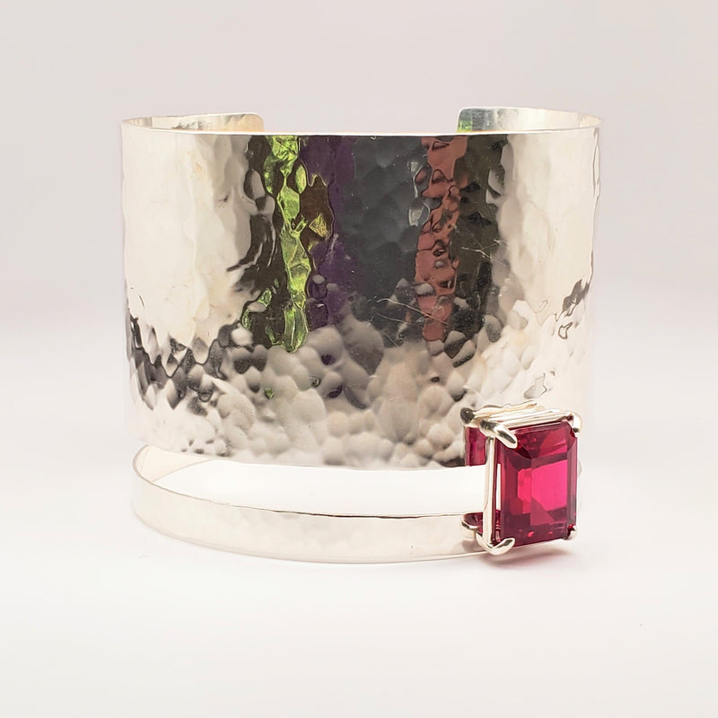 Sterling silver hammered ruby quartz cuff bracelet