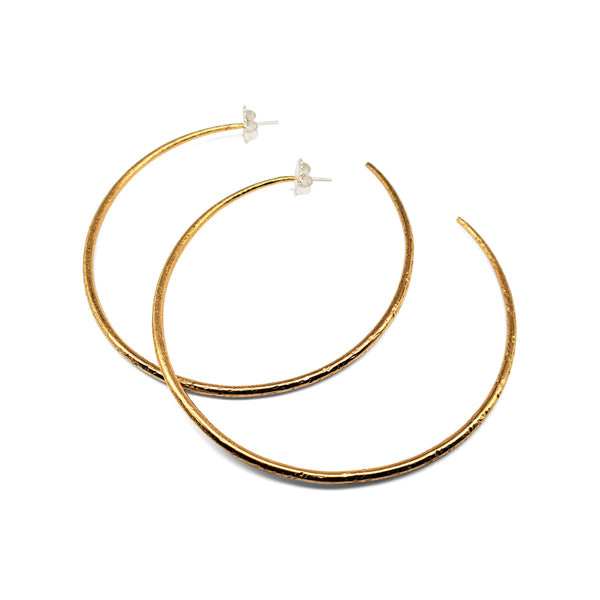 Vermeil large, textured sterling silver hoop