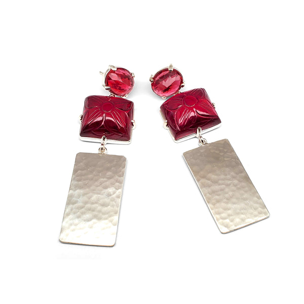 Ruby quartz post, carved ruby quartz, hammered silver drop earrings