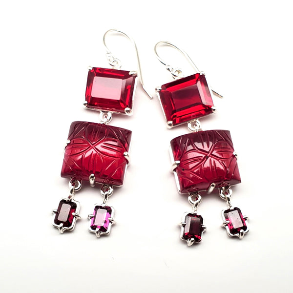 Emerald cut ruby quartz, carved ruby quartz, garnet drop earrings on earwire
