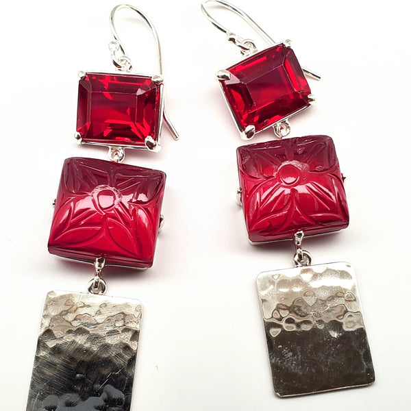 Emerald cut ruby quartz, carved ruby quartz, hammered silver drop earrings