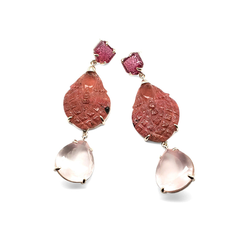 Carved pink tourmaline post, carved pink tourmaline, rose quartz drop earrings