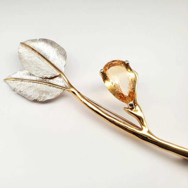 Argentium silver, vermeil 2 leaf pin with citrine pear accent