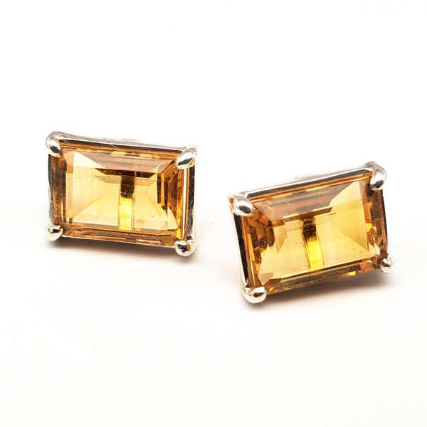 Large citrine stud earrings