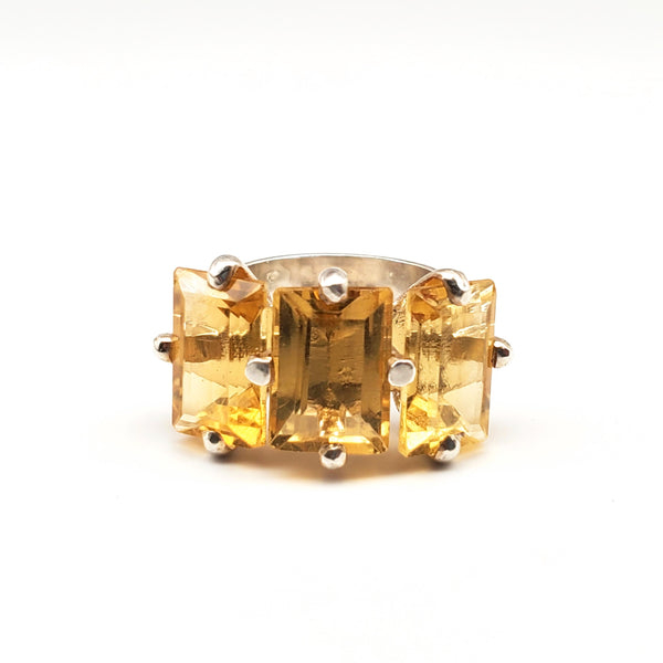 Citrine triple stone ring