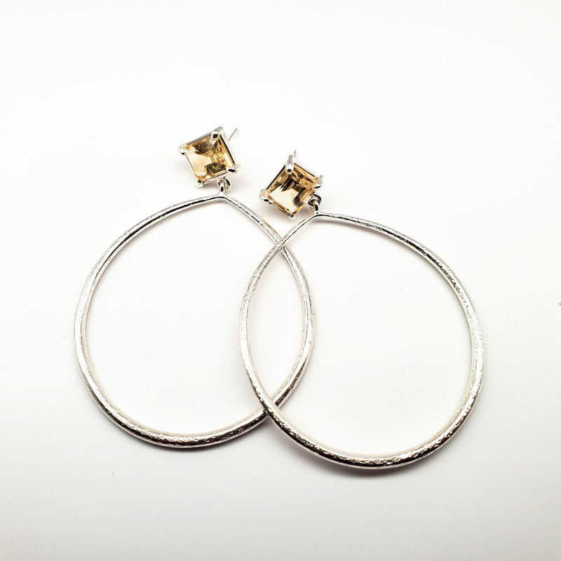 Emerald cut citrine post, textured silver hoop earrings