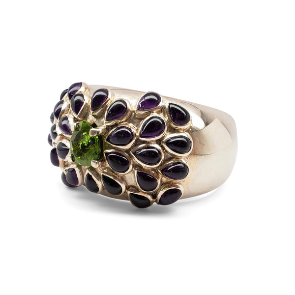 Argentium silver cuff with amethyst teardrops and peridot