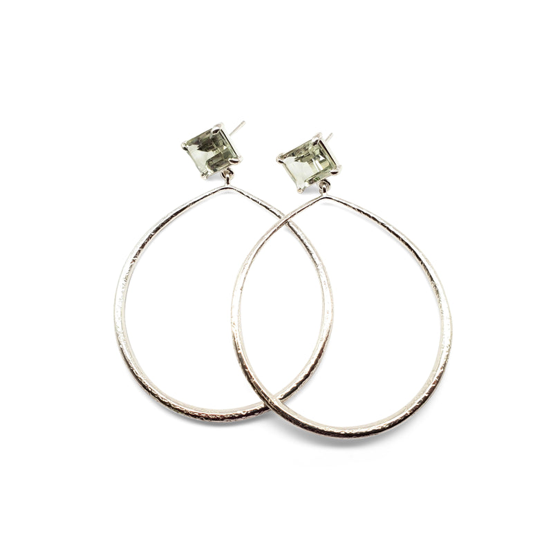 Emerald cut, prasiolite posts, textured hoop earrings