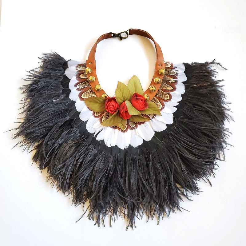 Black/white feathered collar with leather and red silk flowers