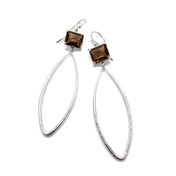 Emerald cut, smoky quartz silver textured teardrop earrings
