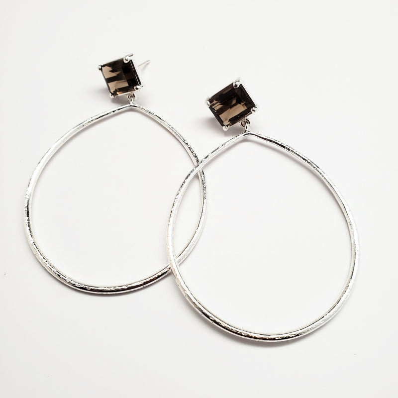 Emerald cut, smoky quartz post, textured hoop earrings