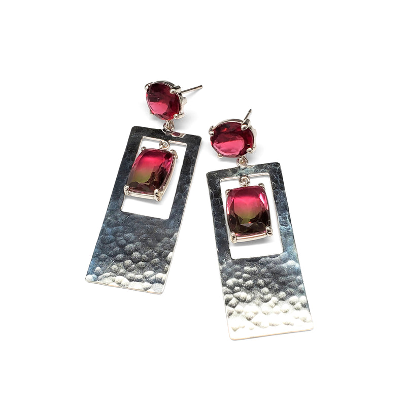 Ruby quartz post, watermelon quartz, hammered silver rectangle drop earring