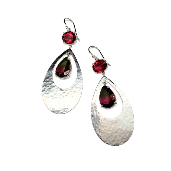Ruby quartz, watermelon quartz, hammered sterling silver earrings