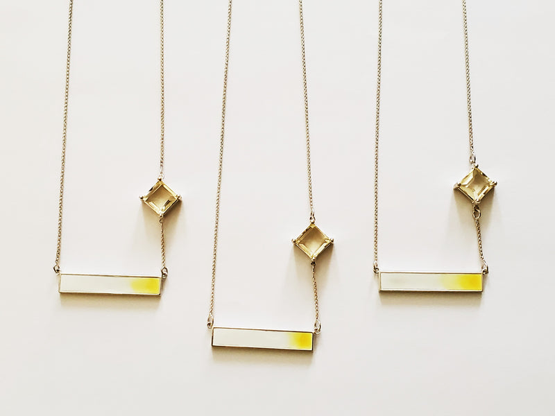 Love and Hope emerald cut citrine, sterling silver, enamel necklace