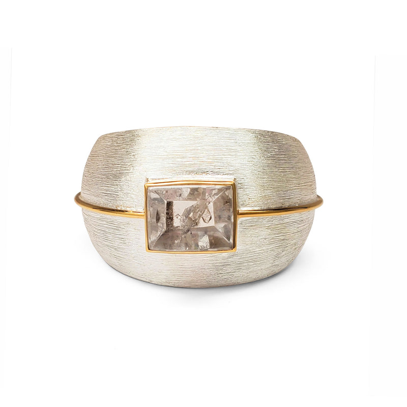 Brushed finish Argentium silver, rock crystal cuff w 18k vermeil accent