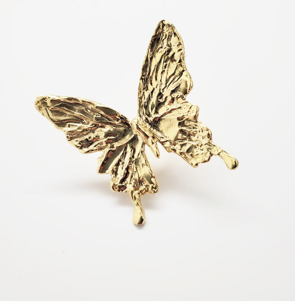 "2.75"" single Thai gold  butterfly with an engraved HOPE band ring"