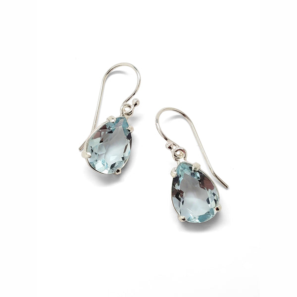 Blue topaz teardrop prong set earrings