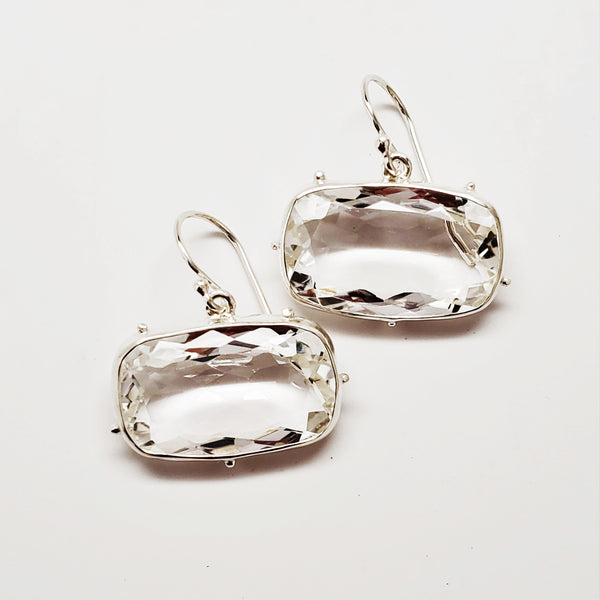 Faceted quartz, granulated bezel set earrings