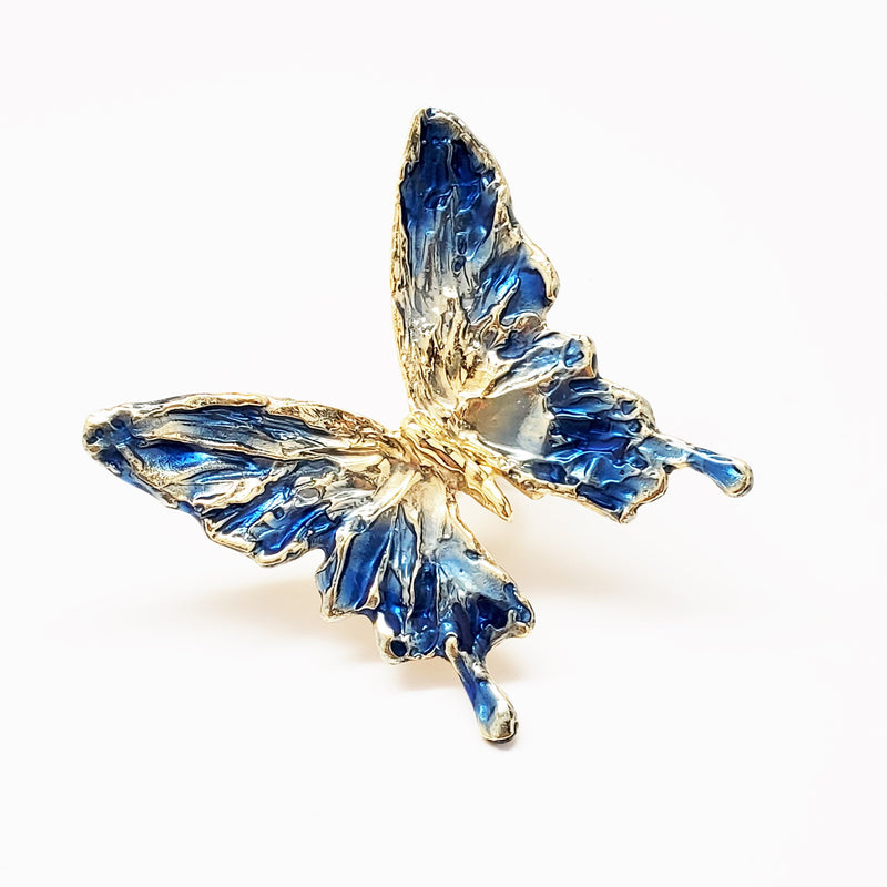 "2.75"" single enameled blue butterfly with an engraved HOPE band ring"
