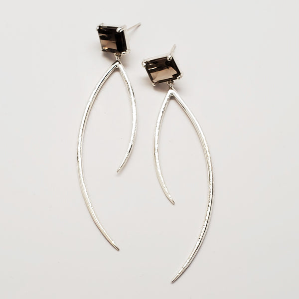 Smoky quartz curve earrings