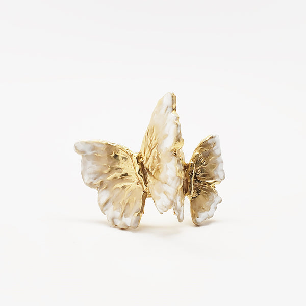 White enameled butterflies ring with an engraved HOPE band