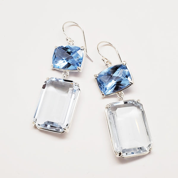 Prong set blue quartz with emerald cut aqua quartz on earwire