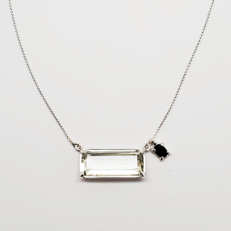 Emerald cut prasiolite, green tourmaline accent, sterling silver necklace