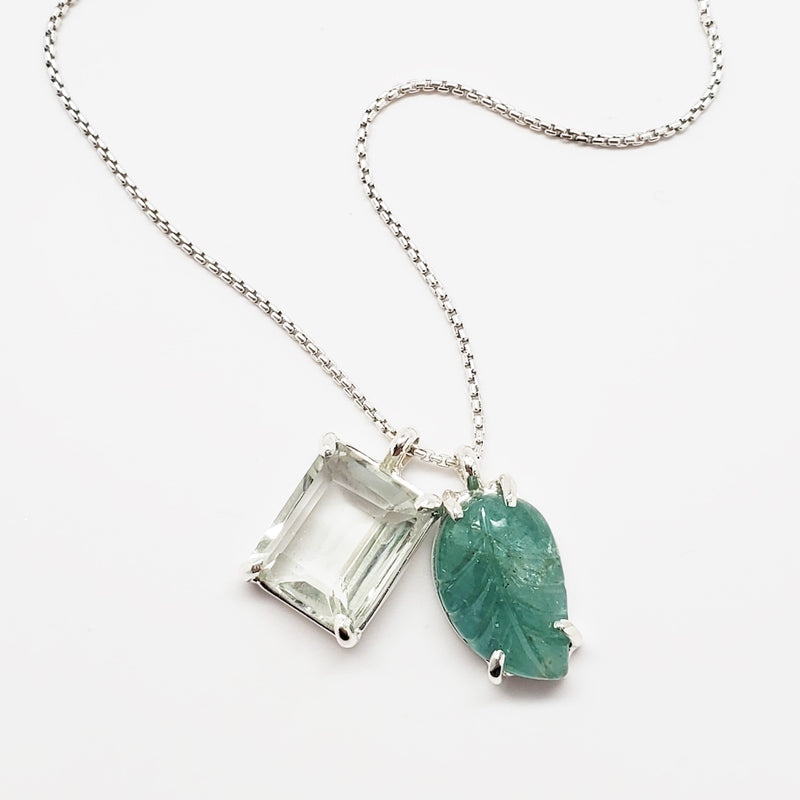 Emerald cut prasiolite, emerald leaf pendant, sterling silver necklace