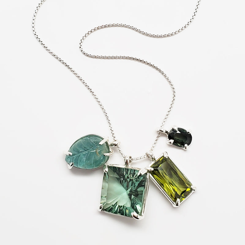 Carved emerald leaf, green quartz square, olive quartz, green tourmaline pendants, sterling silver chain