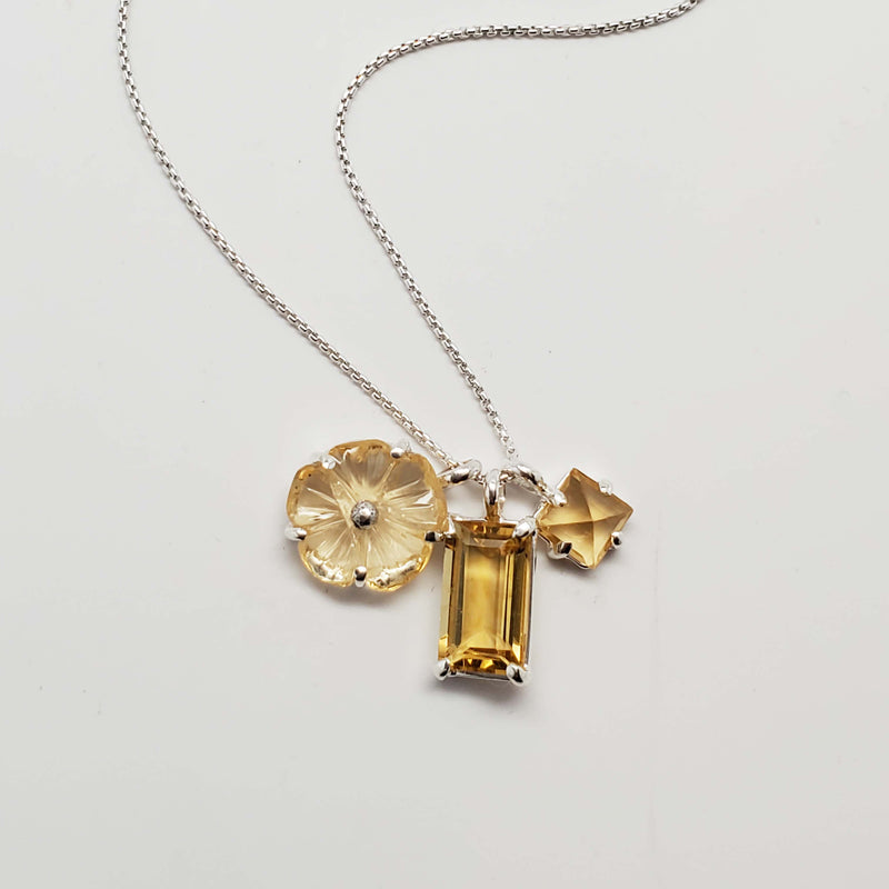 3 charm necklace in citrine