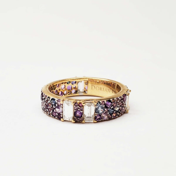Amethyst diamond band