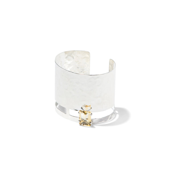 Sterling hammered citrine cuff bracelet