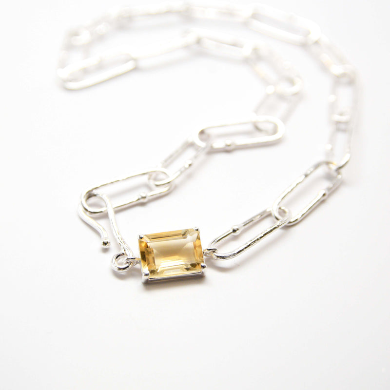 Textured long link choker with citrine accent