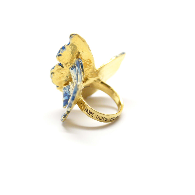 Blue enameled butterflies ring with an engraved HOPE band