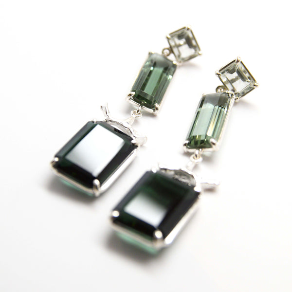 Prasiolite, green quartz, silver coral, emerald quartz earrings