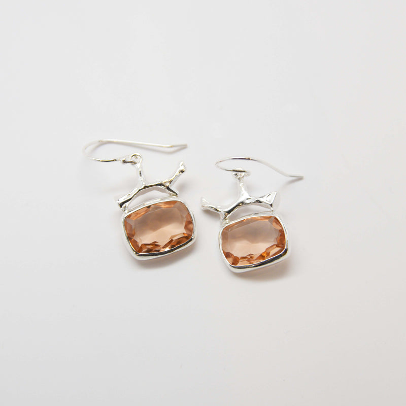 Silver coral topped, morganite quartz bezel set earrings