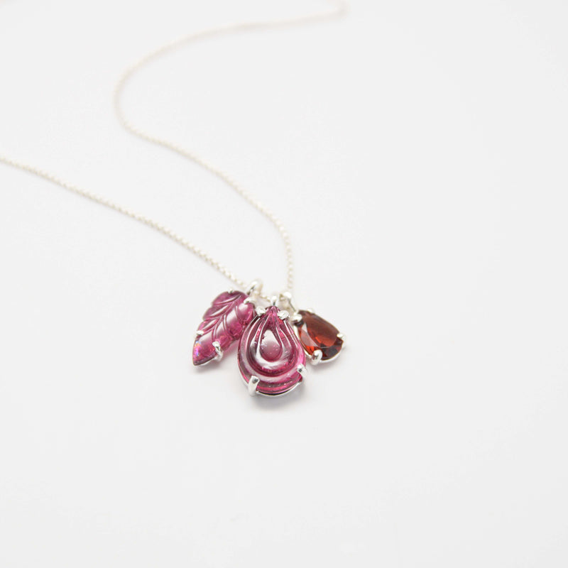 3 charm necklace in pink tourmaline